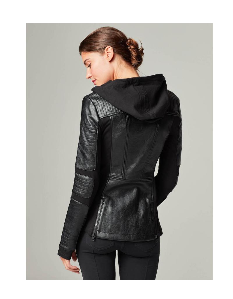 Asym Hooded Moto Jacket Jacket