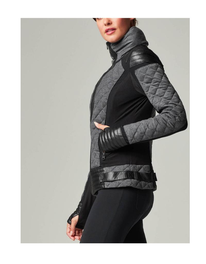 Mesh Inset Moto Puffer Jacket Jacket