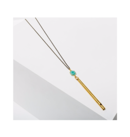 Gemstone Whistle Drop Necklace