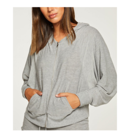 Cozy Knit Batwing Zip Up Hoodie Sweater
