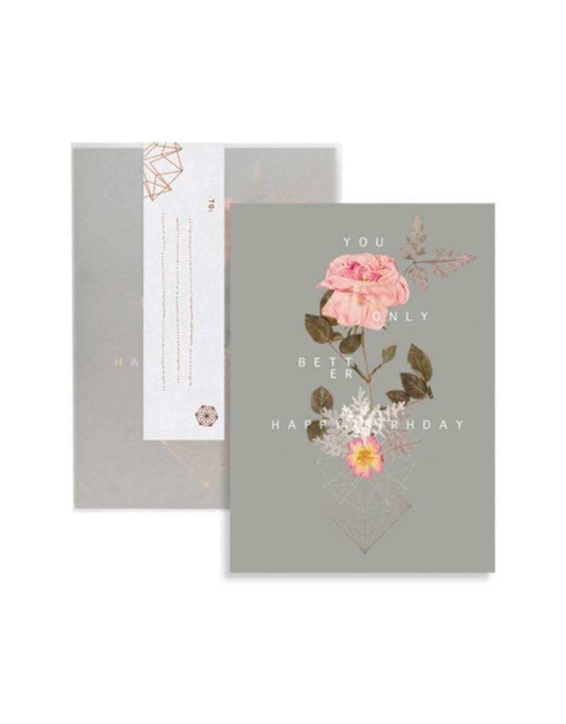 Cosmic Rose Birthday Greeting Card