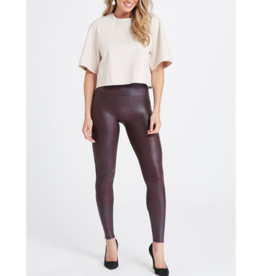 Faux Leather Legging in Wine Leggings