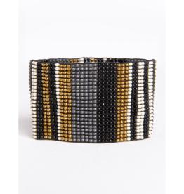 Black and Ivory Gold Stripe Bracelet