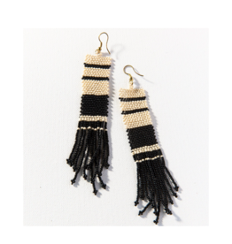 Black and Ivory Stripe Seed Bead Earring