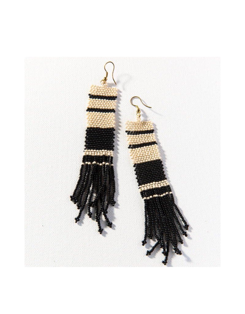 Black and Ivory Stripe Seed Bead Earring