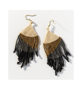 Black Ombre Earring with Gold Fringe