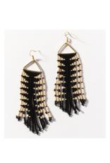 Black with Ivory Arrow Fringe on Triangle Earring