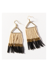 Black, Gold, and Ivory Color Block Fringe on Triangle Earring