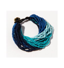 Blue Ombre Multi Layer Seed Bead Bracelet