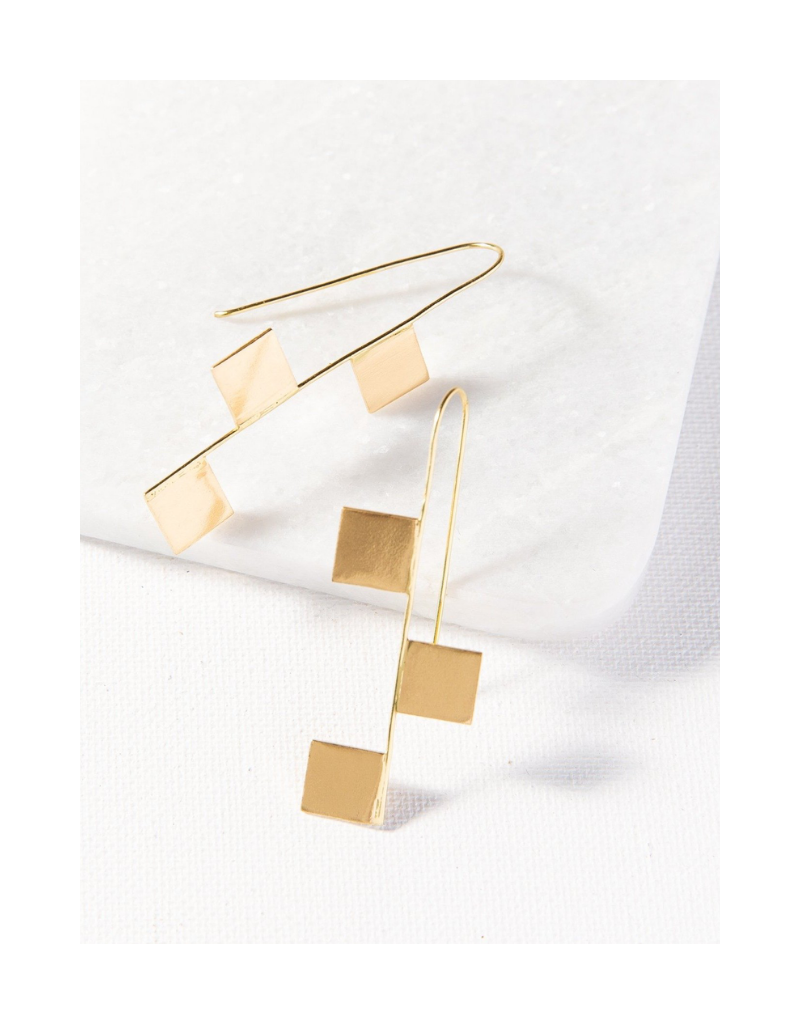 Brass Hook with Squares Earring