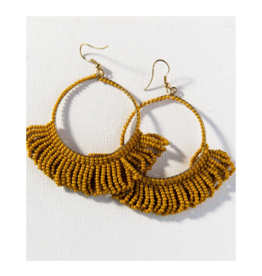 Citron Fringe Hoop Seed Bead Earring