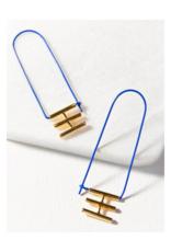 Elongated Cobalt Blue Hoop Earring