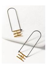 Elongated Rectangle Hoop Earring