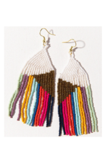Gold and White with Bright Stripes Fringe Earring