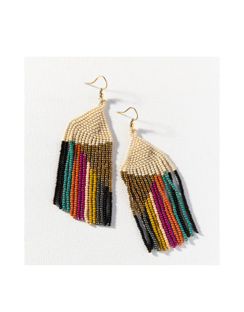 Gold Ivory with Muted Stripe Fringe Earring