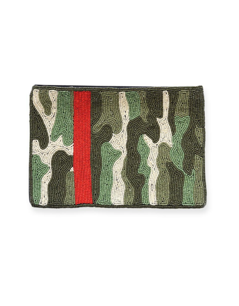 Green Camo with Red Stripe Beaded Clutch