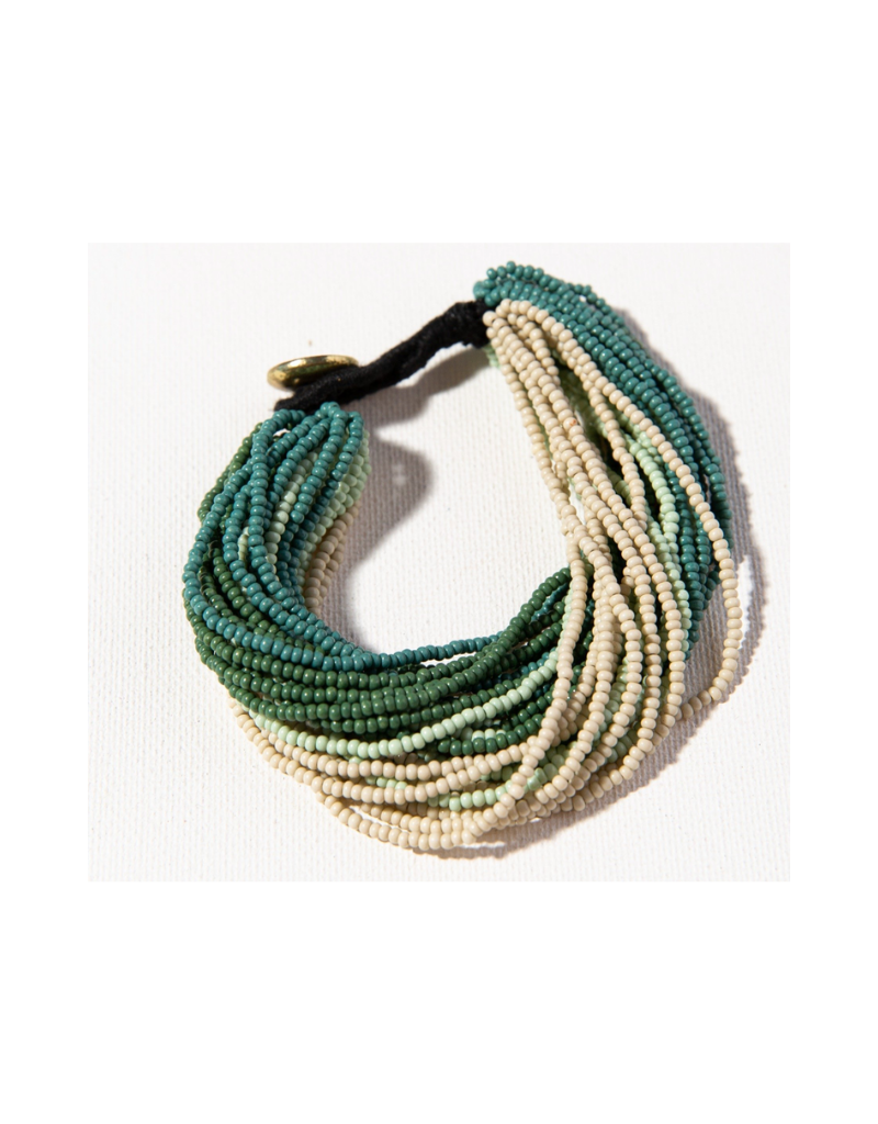 Green Ombre Multi Layer Seed Bead Bracelet