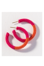 Hot Pink and Coral Color Block Hoop Earring Small