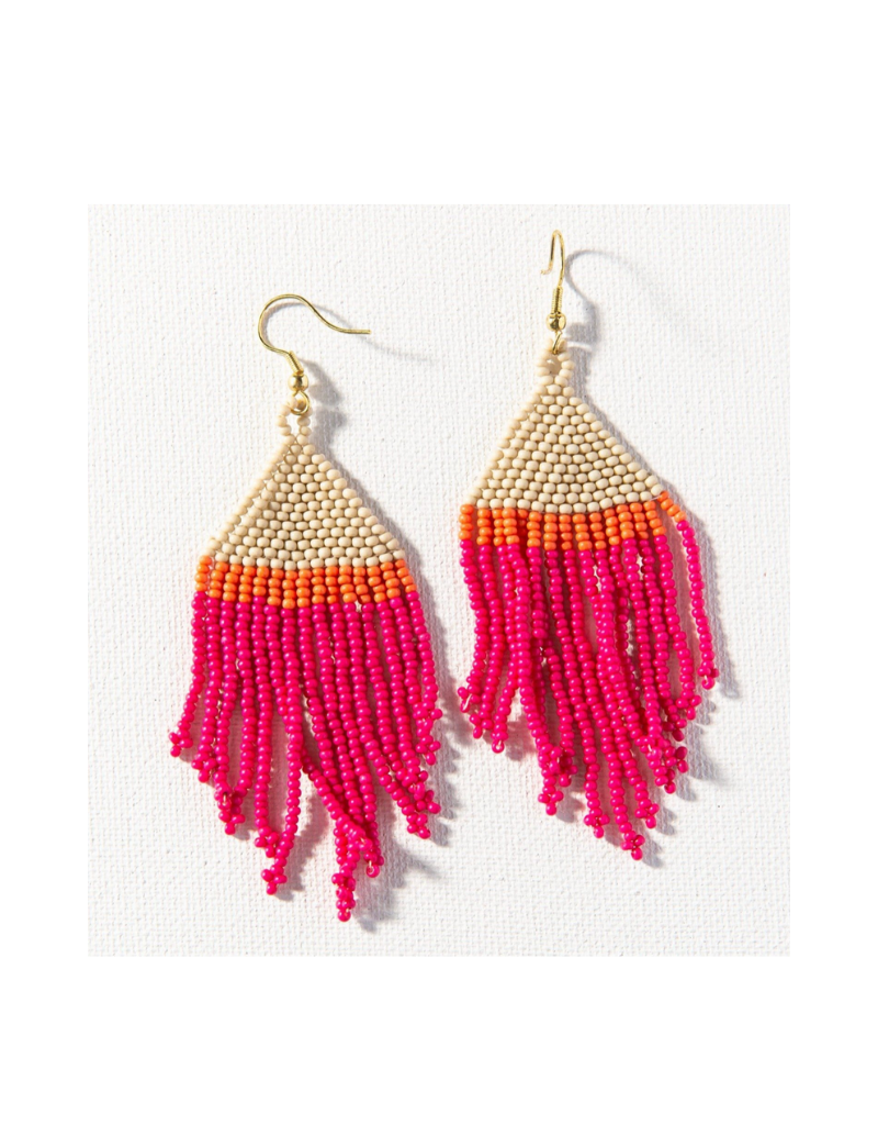 Hot Pink, Ivory, and Coral Stripe Fringe Earring