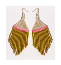 Ivory, Pink, and Citron Stripe Fringe Earring