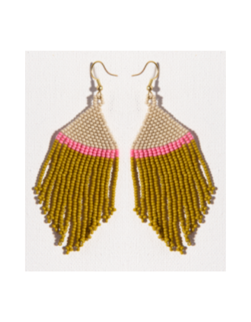 Ivory, Pink, and Citron Stripe Fringe Earring