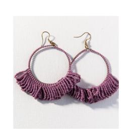 Lilac Fringe Hoop Seed Bead Earring