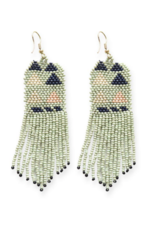 Mint, Pink, and Navy Triangle Seed Bead Earring