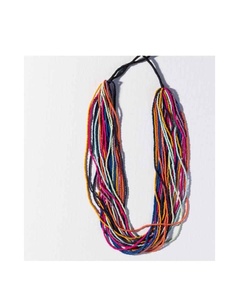Multi Stripe Multi Layer Seed Bead Necklace