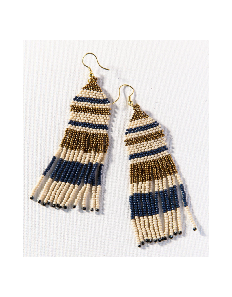 Navy and Ivory Gold Seed Bead Stripe Earring
