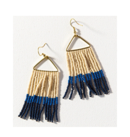 Navy, Lapis, and Ivory Color Block Fringe on Triangle Earring