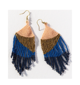Navy, Lapis, Gold, and Pink Ombre Fringe Earring