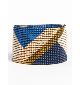 Navy, Pink, Gold, and Lapis Diagonal Stretch Bracelet