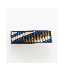 Navy, Pink, Lapis and Gold Diagonal Stripe Beaded Barrette