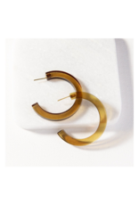 Olive Lucite Hoop Earring Small