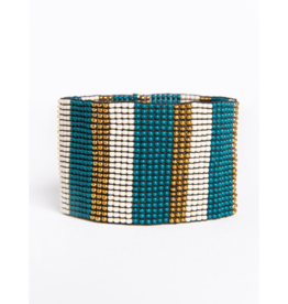 Peacock and Ivory Gold Stripe Stretch Bracelet