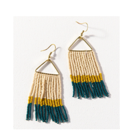 Peacock Citron and Ivory Colorblock Fringe Triangle Earring