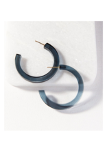 Peacock Lucite Hoop Earring Small