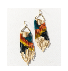 Peacock, Rust, and Citron Diagonal on Triangle Earring