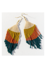 Peacock, Rust, Ivory, and Citron Fringe Earring