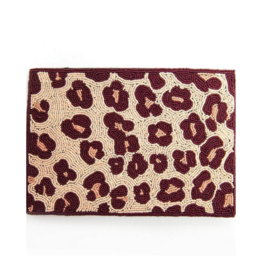 Pink Cheetah Beaded Clutch