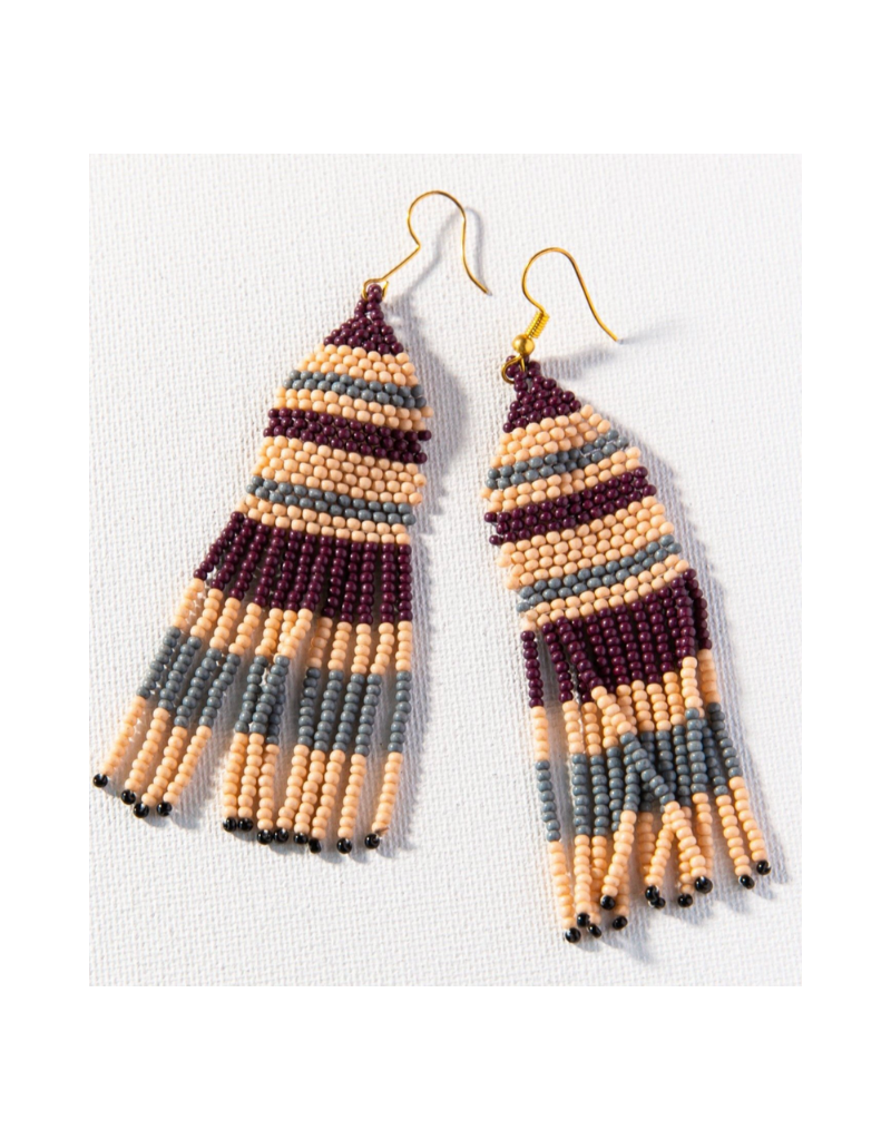Pink, Grey, and Port Seed Bead Stripe Earring