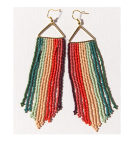 Pink, Mint, Teal, and Port Stripe Fringe on Triangle Earring