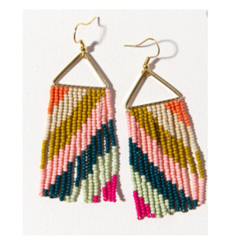 Pink, Peacock, and Citron Diagonal Stripe Earring