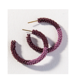 Port and Lilac Color Block Hoop Earring Small