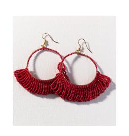 Red Fringe Hoop Seed Bead Earring