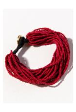 Red Multi Layer Seed Bead Bracelet