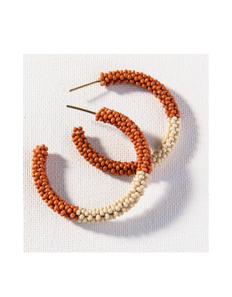 Rust and Ivory Color Block Hoop Earring