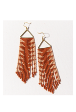 Rust with Pink Arrow Fringe on Triangle Earring