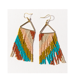 Rust, Pink, and Turquoise Diagonal Stripe Triangle Earring