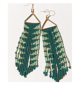 Teal with Mint Arrow Fringe on Triangle Earring